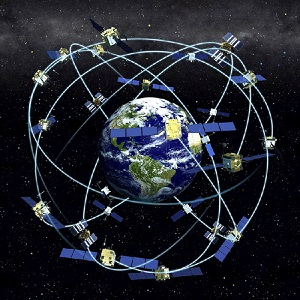 gps satellites in orbit with tracker