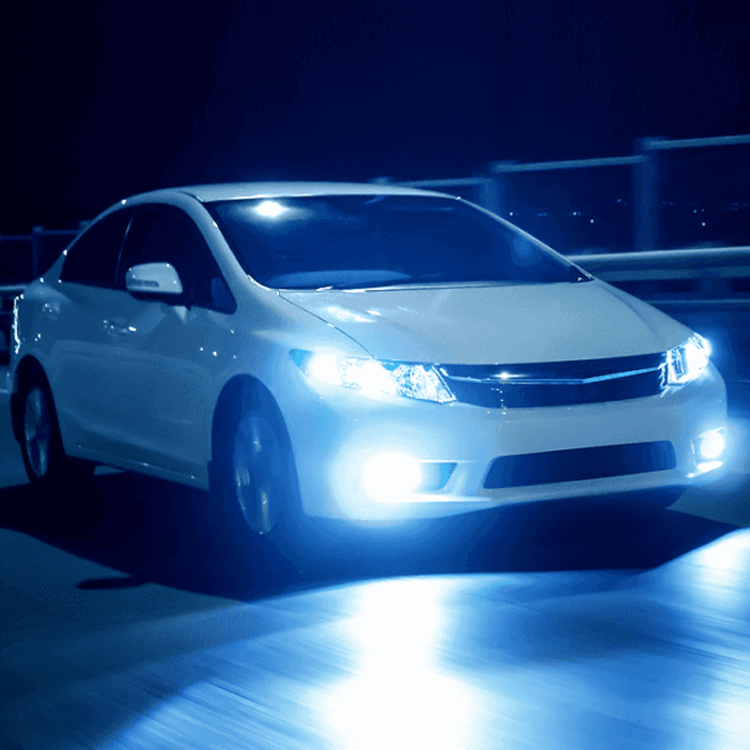 Car with headlights