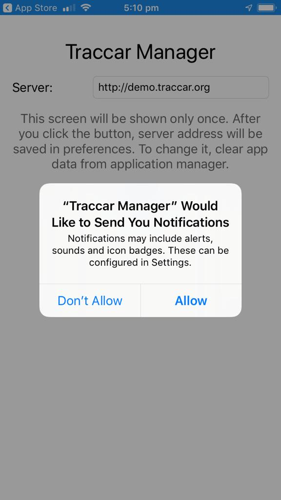 gpyes traccar ios app store allow notifications